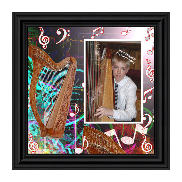 Harp Instrument Decor Personalized Picture Frame, 10X10 3519