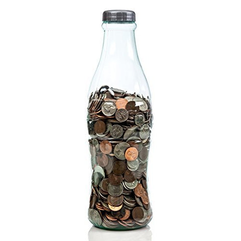 Coca-Cola Coke Bottle Bank for Saving and Storing Coins and Paper Money for Adults or Children 12 Inch Red or Clear Coin Bank