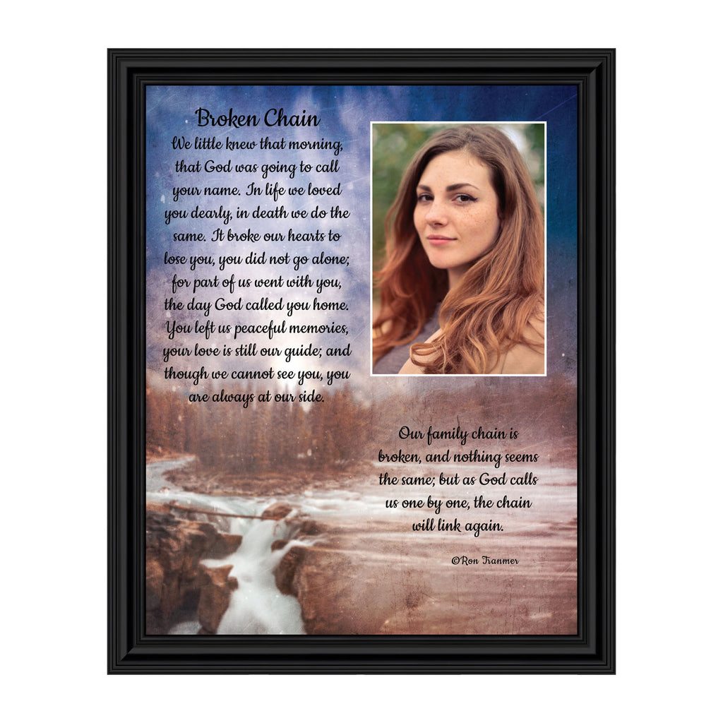 Sympathy Gift In Memory of Loved One, Memorial Picture Frames For Loss Of Loved One, Memorial Grieving Gifts, Condolence Card, Bereavement Gifts for Loss of Mother or Father, Broken Chain Frame, 5001