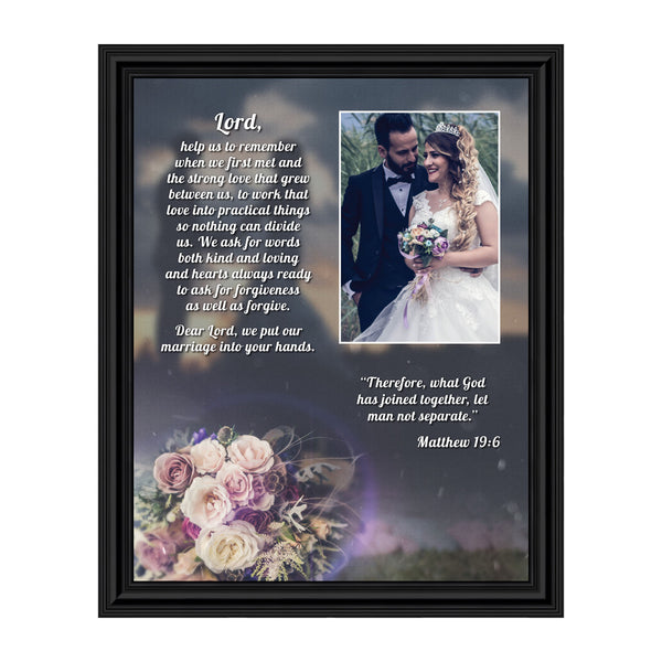 "Christian Wedding Gifts for Couple, Engagement Gift for Bride and Groom, Christian Bridal Shower Gift for Bride, Rustic Wedding Decor, ""A Marriage Prayer"" Picture Framed Poem, 5013"