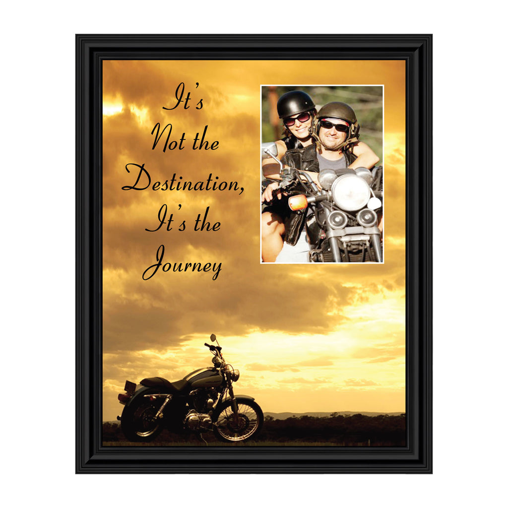 "Classic Motorcycle ""It's Not the Destination, It's the Journey"" Sunset with Personalized Picture Frame,  5016"