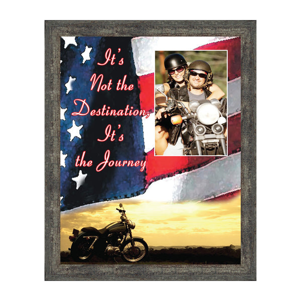 "Harley Davidson Gifts for Men and Women, Patriotic Harley Accessories, Harley Davidson Wedding Gifts, Sunset American Flag for Harley Riders, ""It's Not the Destination"" Unique Motorcycle Decor, 5028"