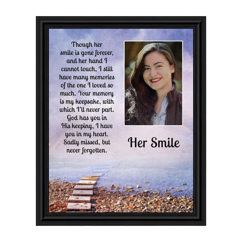 Sympathy Gifts for Loss of Mother, Condolence Gift, In Loving Memory Memorial Gifts for Loss of Wife, Mom, Grandma or Sister, Bereavement Gifts to Remember Her Smile, Memorial Picture Frame, 5030