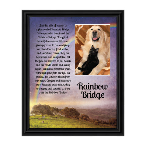 Rainbow Bridge Pet Memorial Gifts - Dog Memorial Gifts, Loss of Dog Gifts, Cat Memorial Gifts, Sympathy Gift for Loss of Pet, Pet Memorial Picture Frame, Cat or Dog Memorial Picture Frame, 5034