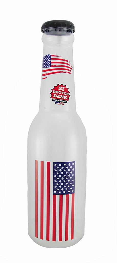 American USA Flag Jumbo 21 Inch Tall Bottle Coin Collelction Bank