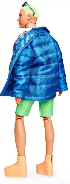 Barbie BMR1959 Ken Fully Poseable Fashion Doll with Neon Hair, in Neon Overalls and Puffer Jacket, with Accessories and Doll Stand