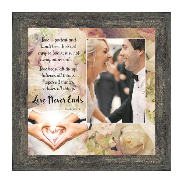 Love Never Ends, Christian Marriage Gift, True Love Picture Frame, 10x10 6301