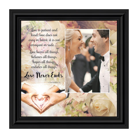 Love Wall Decor for Couples, Christian Wall Decor for Wedding Gifts, Love Never Fails Wall Decor, 1 Corinthians 13 Wall Art, Love is Patient Love is Kind Wall Art, Love Quotes Framed Wall Art, 10x10 6301