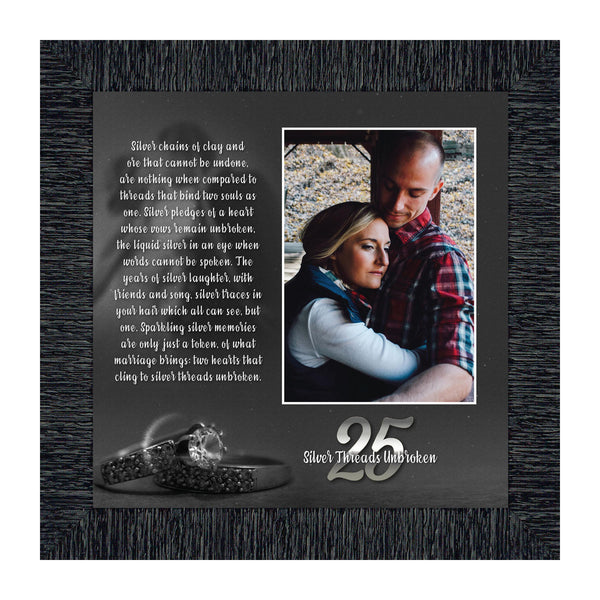 Silver Threads Unbroken, Personalized 25 Anniversary Picture Frame, 10x10 6303