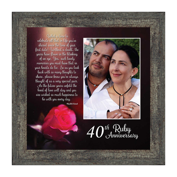 Ruby Anniversary, Personalized Ruby Wedding Anniversary Picture Frame, 40th Wedding Anniversary, 10x10 6307