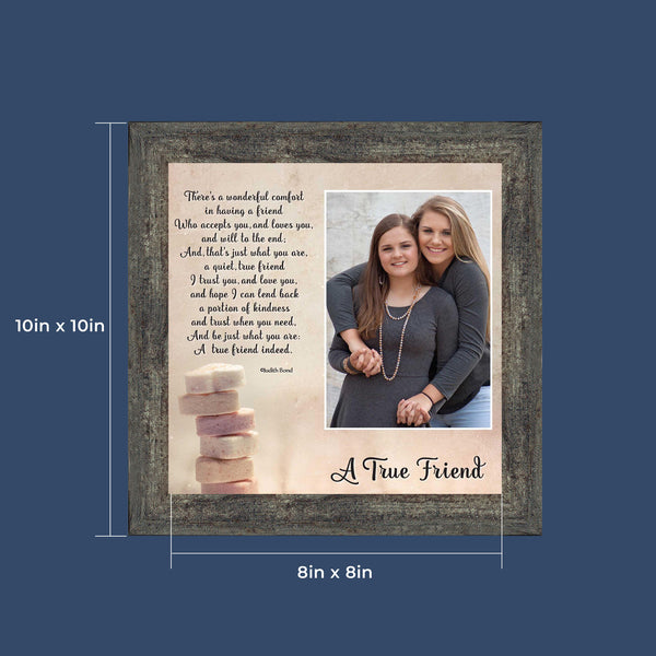 Best Friend Gifts, Birthday Gifts for Women, Bridesmaid Gifts, Friendship Gift for Women, Thank You Gifts, Housewarming Gift, A True Friend 4x6 Picture Frame, 6312