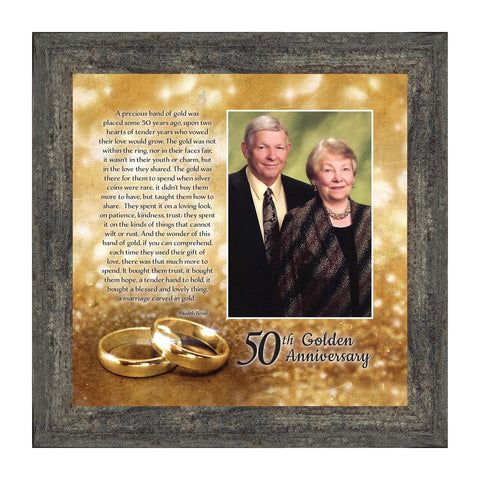 Bands of Gold, Personalized 50th Wedding Anniversary Gift Picture Frame, 10x10 6314