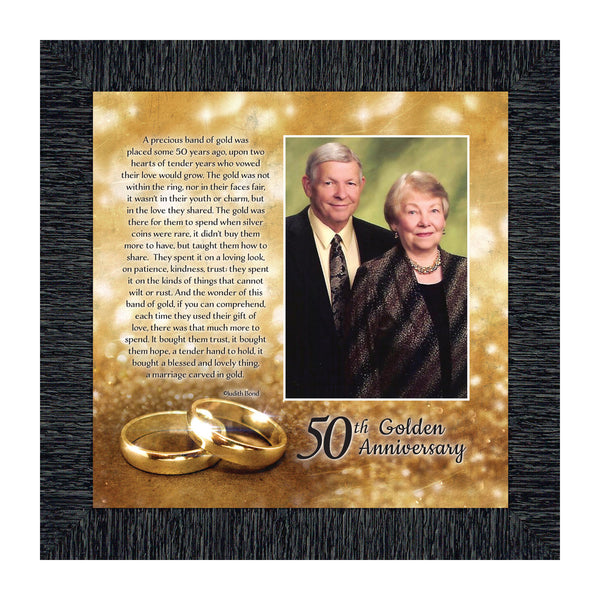 Bands of Gold,  50th Golden Wedding Anniversary Gift Picture Frame, 10x10 6314