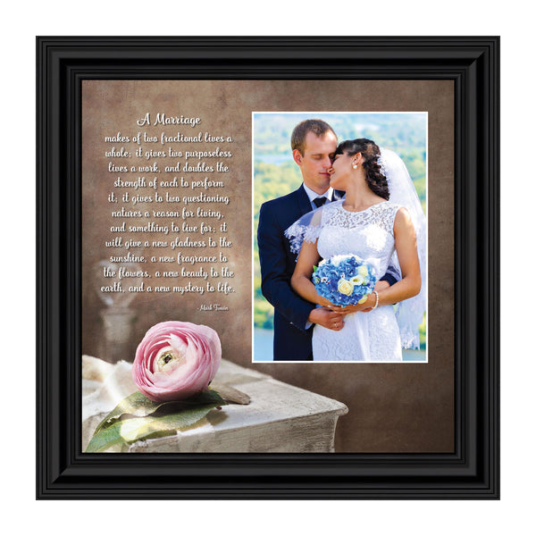 A Marriage, Mark Twain Poem, Picture Framed Wedding Gift for Bride and Groom, 8x8,6322