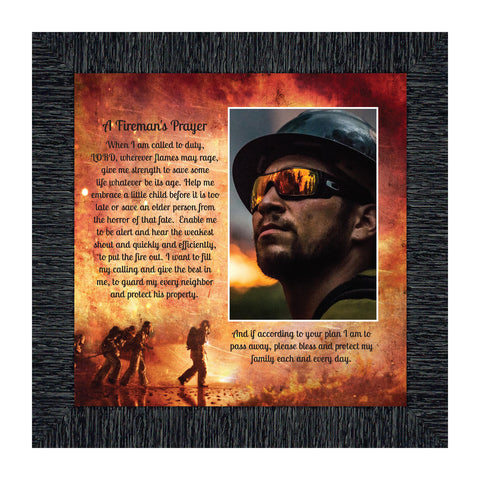 Firemans Prayer, Personalized Picture Frame for Firefighter Gifts, 10X10 6348