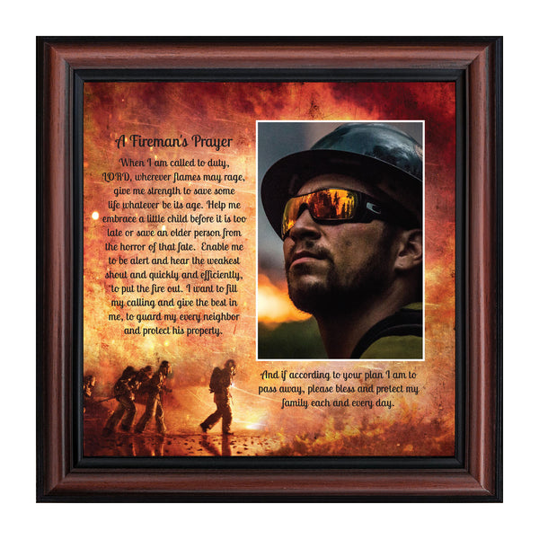 Firefighter Gifts for Men and Women, Fire Academy Graduation Gift, Fire Fighter Gifts or Firehouse Decor, A Fireman's Prayer Framed Wall Art for Home or Fire Station, 6348