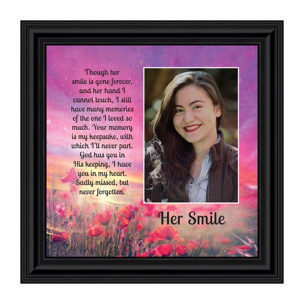 Sympathy Gifts for Loss of Mother, Condolence Gift, In Loving Memory Memorial Gifts for Loss of Wife, Mom, Grandma or Sister, Bereavement Gifts to Remember Her Smile, Memorial Picture Frame, 6354