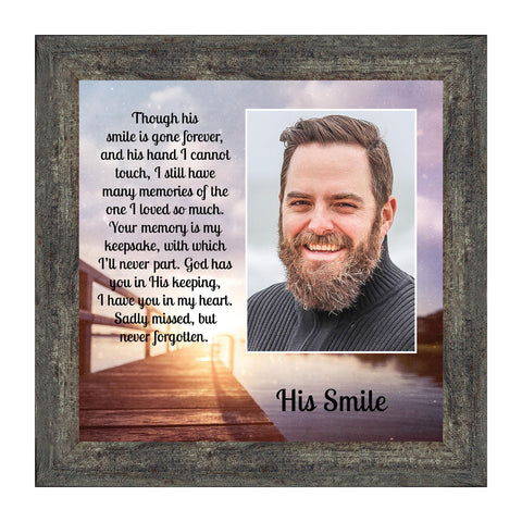 His Smile Framed Poem, in Memory a Loved One, Condolence or Sympathy Gift, 10x10 6361