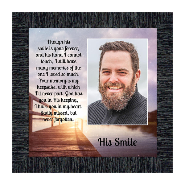 His Smile, in Memory of a Loved one, Loving Memory Gift, 10x10 6361