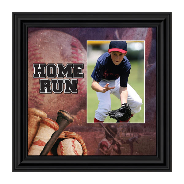 Baseball, Home Run Picture Frame, Baseball Picture for Player or Coach, 10x10 6371