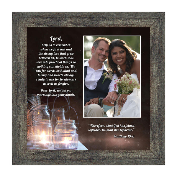 "Christian Wedding Gifts for Couple, Engagement Gift for Bride and Groom, Christian Bridal Shower Gift, Rustic Wedding Decor, ""A Marriage Prayer"" Picture Framed Poem, 6374"