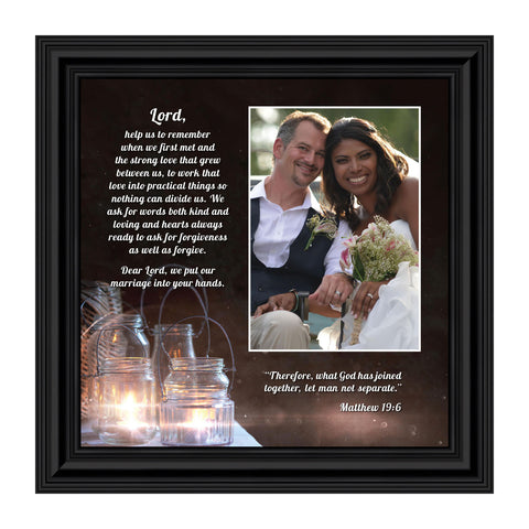 "Christian Wedding Gifts for Couple, Engagement Gift for Bride and Groom, Christian Bridal Shower Gift for Bride, Rustic Wedding Decor, ""A Marriage Prayer"" Picture Framed Poem, 6374"