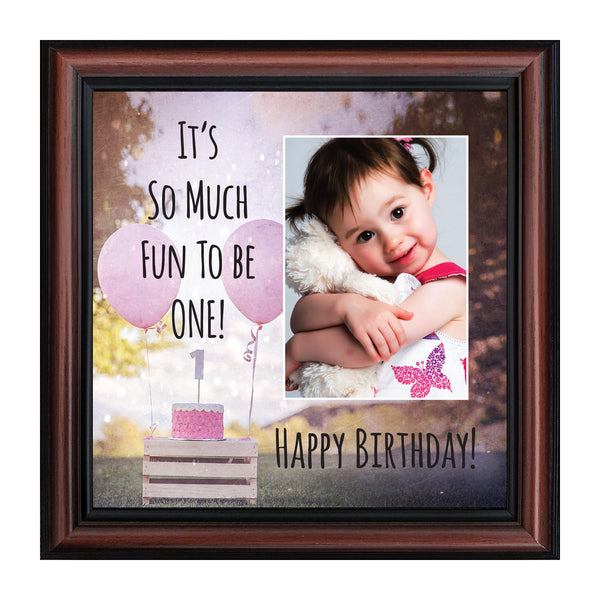 First Birthday for Baby Girl, My 1st Year Moments, Baby Keepsake Picture Frame, 10x10 6408