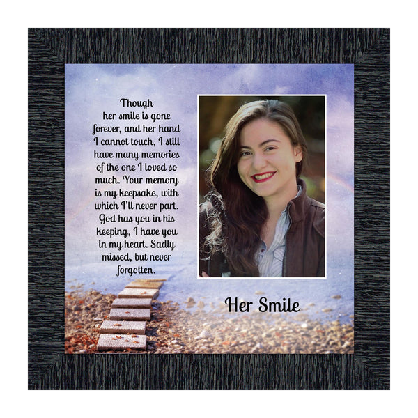 Sympathy Gifts for Loss of Mother, Condolence Gift, In Loving Memory Memorial Gifts for Loss of Wife, Mom, Grandma or Sister, Bereavement Gifts to Remember Her Smile, Memorial Picture Frame, 6434