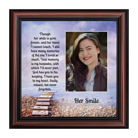 Her Smile Framed Poem, Sympathy Gifts for Loss of a Loved One, Bereavement or Condolence Gift that is in Loving Memory of your Wife, Mom, Grandma or Sister, 10x10, 6434