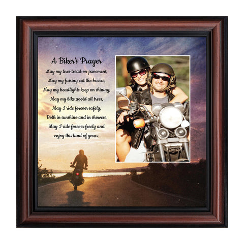 A Biker's Prayer, Gift for Motorcycle Riders, Inspirational Bike Picture Frame, 10x10, 6439