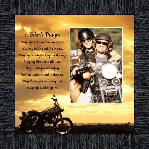 A Biker's Prayer, Gift for Motorcycle Riders, Inspirational Bike Picture Frame, 8x8, 6442