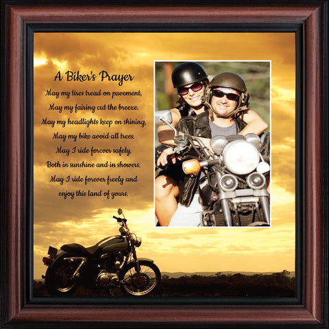 A Biker's Prayer, Gift for Motorcycle Riders, Inspirational Bike Picture Frame, 10x10, 6442