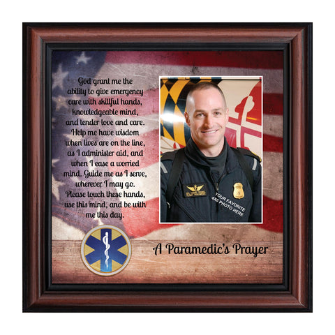 Prayer for the Paramedic Framed Poem, First Responders Gift, EMS, EMT, Gift for a Paramedic and Emergency Services Personnel, 10x10, 6446