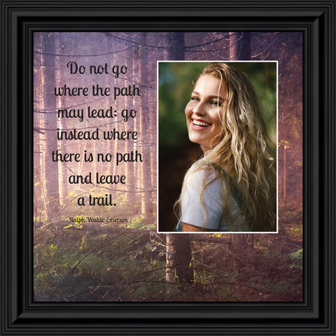 "Motivational Wall Art Decor, Inspirational Wall Art for Office Decor, College Graduation Gifts for Boys, High School Graduation Gifts for Her, Emerson's ""Do Not Go Where the Path May Lead"" Quote"