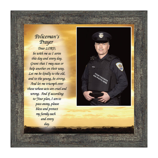 Policeman's Prayer, Personalized Picture Sunset horizon landscape, 10x10 6594