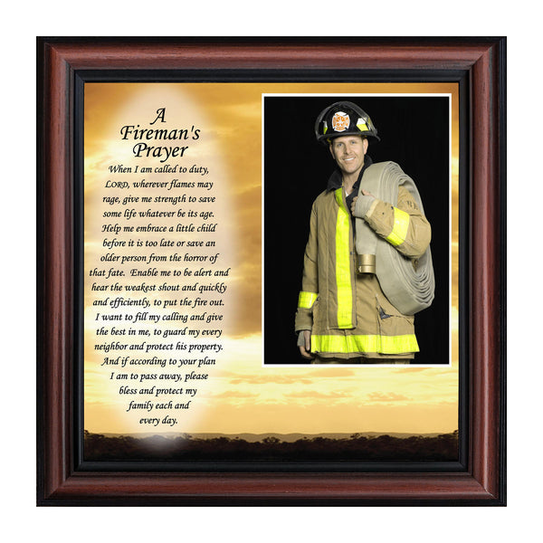 Firefighter Gifts for Men and Women, Fire Academy Graduation Gift, Fire Fighter Gifts or Firehouse Decor, A Fireman's Prayer Framed Wall Art for Home or Fire Station, 6595