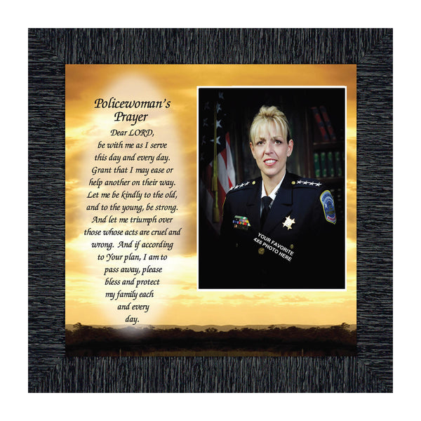 Policewoman's Prayer, Police Officer Gifts for Women, Police Woman Framed Poem, 10x10 6596