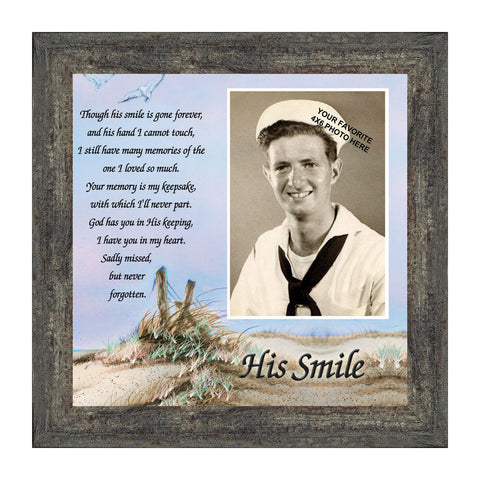 His Smile, Poem about missing and remembering  a loved one, Personalized Picture 10x10 6753