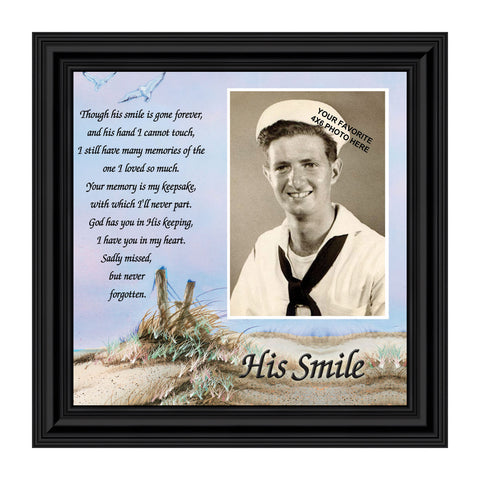 Sympathy Gifts for Loss of Husband, Memorial Gift, His Smile In Memory of Loved One, Picture Frames for Sympathy Gift Baskets, Bereavement Gifts for Loss of Father, Loss of Son Condolence Gift, 6753