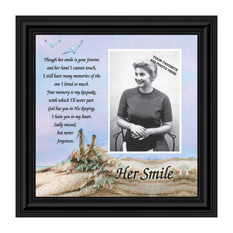 Sympathy Gifts for Loss of Mother, Condolence Gift, In Loving Memory Memorial Gifts for Loss of Wife, Mom, Grandma or Sister, Bereavement Gifts to Remember Her Smile, Memorial Picture Frame, 6756