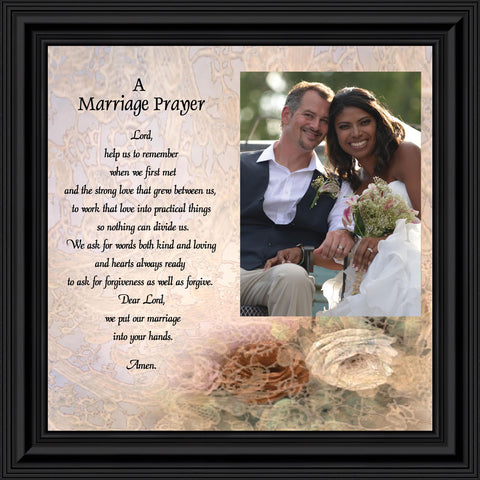 Framed Prayer for Your Marriage, Christian Wedding Gift for Bride and Groom, 10X10 6757