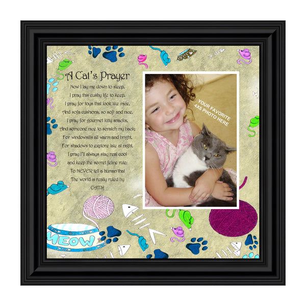 A Cats Prayer, Personalized Picture Frame for you with your Pet, 8x8, 6765