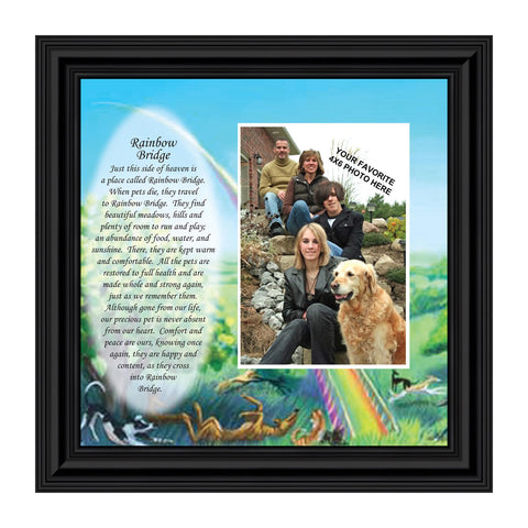 Rainbow Bridge Pet Memorial Gifts - Dog Memorial Gifts, Loss of Dog Gifts, Cat Memorial Gifts, Sympathy Gift for Loss of Pet, Pet Memorial Picture Frame, Cat or Dog Memorial Picture Frame, 6766