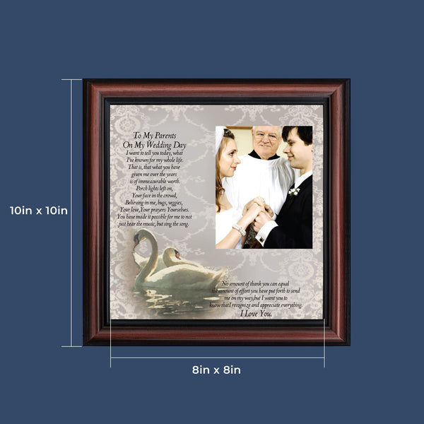 To My Parents on My Wedding Day, Marriage Day Gift For Mom and Dad from Bride or Groom, 10x10 6777