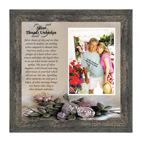 Silver Threads Unbroken, Personalized 25th Anniversary Picture Frame, 10x10 6778