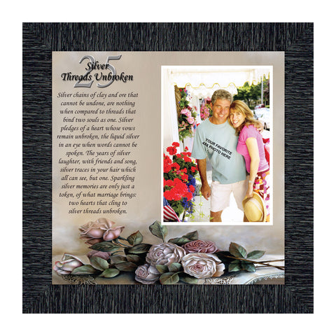 Silver Threads Unbroken, Personalized 25 Anniversary Picture Frame, 10x10 6778