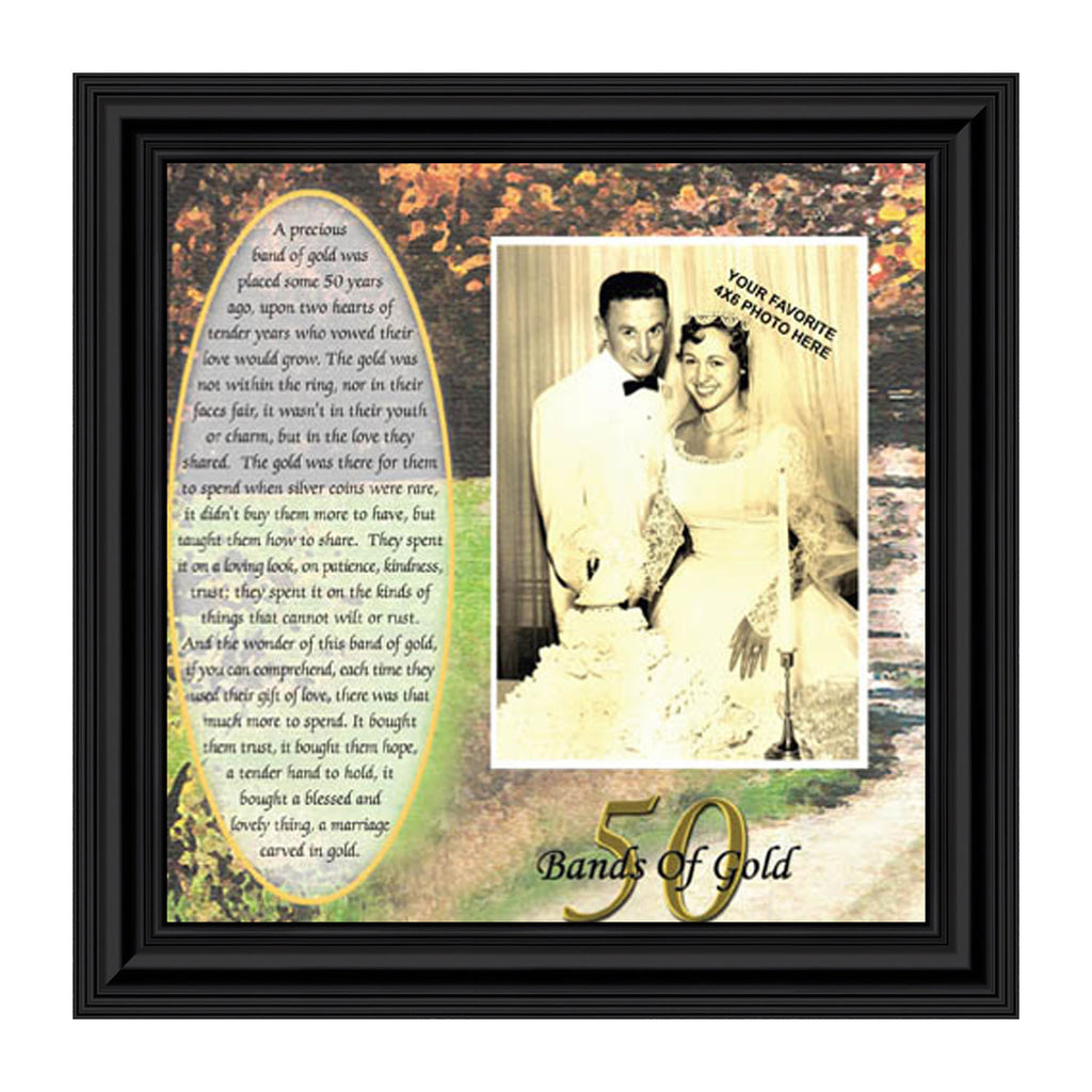 Bands of Gold, Anniversary Gift, Personalized 50th Wedding Anniversary Picture Frame, 10x10 6779