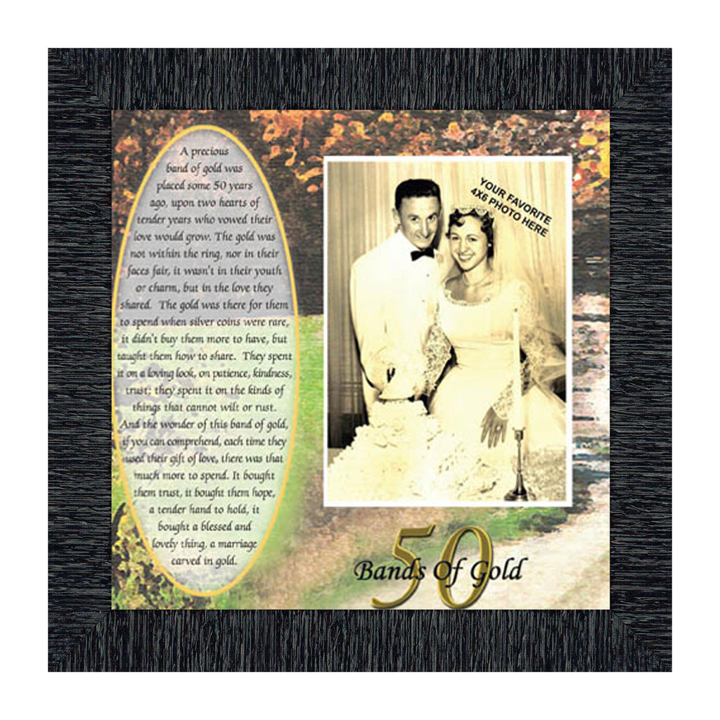Bands of Gold, Personalized 50th Wedding Anniversary Gift Picture Frame, 10x10 6779