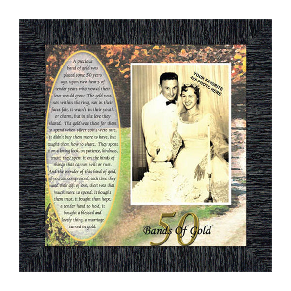 Bands of Gold,  50th Golden Wedding Anniversary Gift Picture Frame, 10x10 6779