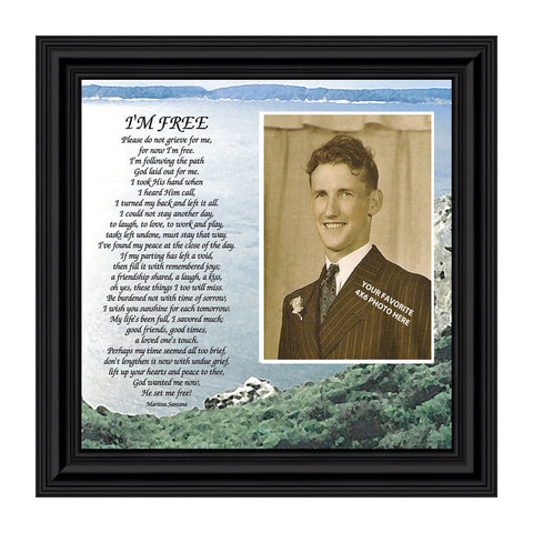 "Memorial Picture Frames for Sympathy Gift Baskets, Memorial Gifts for Loss of Mother, Bereavement Gifts, Condolence Card, Sympathy Gifts for Loss of Father, ""I'm Free"" Photo Frame 6789"